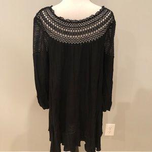 UMGEE BoHo Tunic w/ Crochet Detailing & Sheer Neck